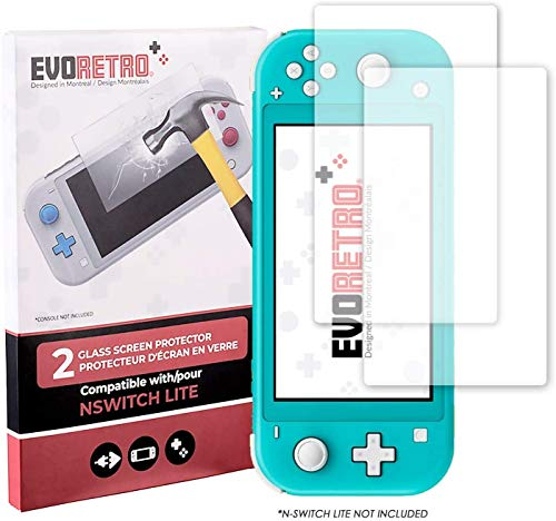 EVORETRO Advanced Tempered Glass Protection Kit for Nintendo Switch Lite-Ultra Clear Heavy Duty Screen Protectors with High Accuracy Response (2 PACK)