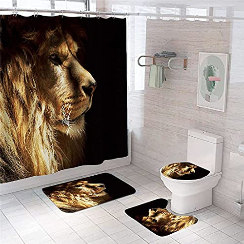 4PCS Cool Lion Shower Curtain Sets with Non-Slip Rugs Toilet Lid Cover and Bath Mat,Black Background Animal Bathroom Curtain Set with 12 Hooks Durable Waterproof Fabric Shower Curtain with Hooks