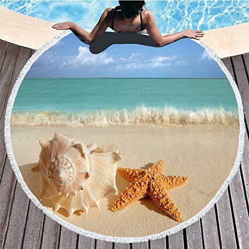 AGAGRG Redonda Toalla Playa,Ocean Beach Estrella De Cinco Puntas Microfibre Beach Towel-Extra Large Quick Dry Lightweigh Sand-Esta Toalla De Viaje Beach Swimming Gym Yoga Cruise