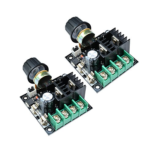 Diymore Modulo regolatore velocità motore 10A PWM DC 12V-40V Regolatore volt variabile Ventole di raffreddamento Dimmer Governatore Stepless con manopola Alta efficienza (2 PZ)