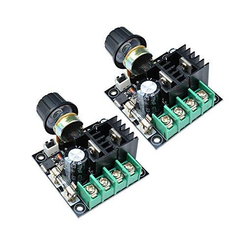 Diymore Modulo regolatore velocità motore 10A PWM DC 12V-40V Regolatore volt variabile Ventole di raffreddamento Dimmer Governatore Stepless con manopola Alta efficienza (2 PZ)