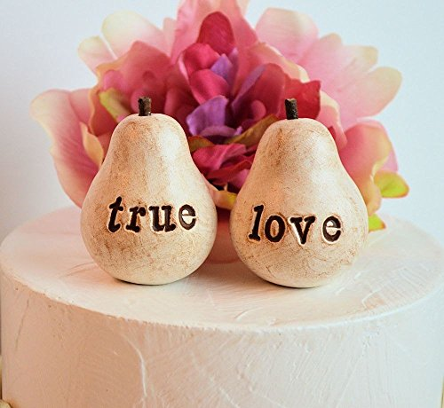 Wedding cake topper ... Rustic Pair of Pears... vintage white true love pears ... perfect pair