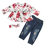 Girl Clothes Outfits Toddler Girl Clothes Floral Dress Top with Ripped Jeans Pants Set Red Roses