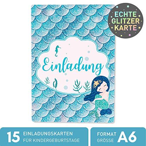 15 x Meerjungfrau Glitzer Einladungskarten Geburtstag Kinder - Größe A6 - Coole Einladung zum Kindergeburtstag für Mädchen und Jungen - Witzige Einladungskarte - Glitzerlack