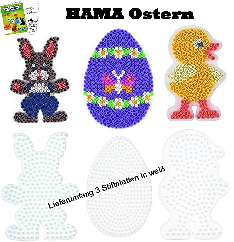 Hama Stiftplatten-Set midi Ostern Osterei + Küken + Häschen + Malheft