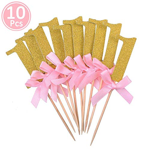 XCVB Verjaardagsdecoratie Kindertafelbenodigdheden Eenhoorn Feest 10st Goudroze Papier 1 Cupcake Toppers,goudroze1