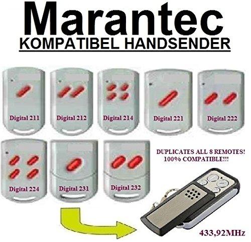 Marantec Digital 211 / 212 / 214 / 221 / 222 / 224 / 231 / 232 kompatibel handsender, klone fernbedienung, 4-kanal 433,92Mhz fixed code. Top Qualität Kopiergerät!!!