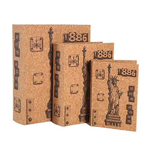 Caja Fuerte Para Libros, Caja Fuerte De Desvío De Seguridad Estilo Estatua De La Libertad Para La Oficina En Casa, Caja De Almacenamiento Oculta, Soporte Para Contenedo(Size:3-Pack,Color:Color madera)