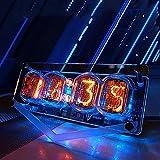Ylight Reloj Nixie Tube Vintage, Reloj Digital LED Colorido Vintage Producto Terminado, Reloj de Tubo incandescente de 4 dígitos con un Cable USB, Regalo