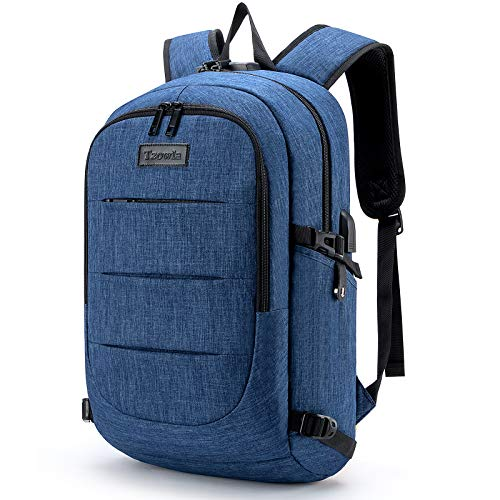 Tzowla Travel Laptop Backpack,Slim Durable Water Resistant Anti-Theft Bag with USB Charging/Headphone Port and Lock 15.6 Inch Computer Business Gift for Women Men College School Bookbag-JeanBlue