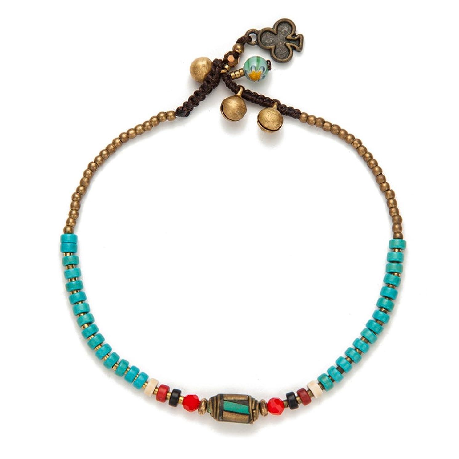 TOMLEE Beaded Rope Anklet Boho Handmade Wax Rope Braided Ankle Bracelet, Nepal Stone Charm Anklets
