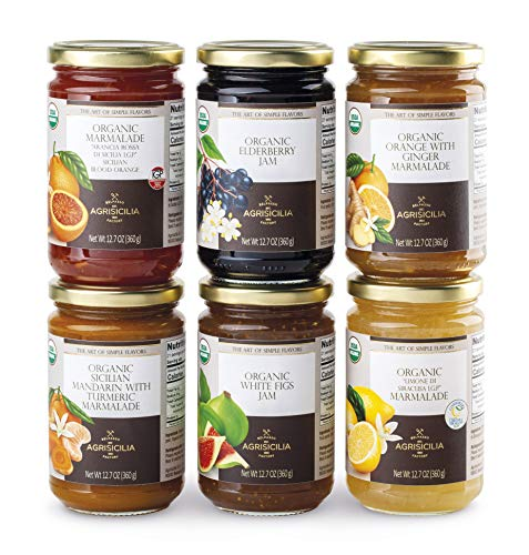 USDA Organic Sicilian MIX FLAVORS Jams and Marmalade 12.7oz. (PACK OF 6) BLOOD ORANGE, LIMONE DI SIRACUSA, WHITE FIG, ELDERBERRY, MANDARINE and TURMERIC, ORANGE and GINGER