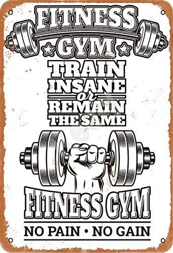 Keely Fitness Gym - No Pain No Gain Metal Vintage Cartel de chapa Decoración de la pared 12x8 pulgadas para Cafe Cafe Bares Restaurantes Pubs Hombre Cueva Decorativa