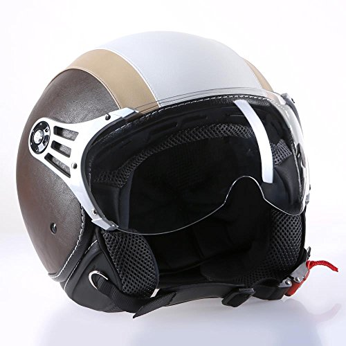 Motorradhelm Jethelm Rollerhelm CMX Chap weiß beige mit Leder braun in Größe S