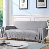 TAOCOCO Couch Cover, Sofa Cover, Couch Slipcovers with Tassels, Couch Covers for Dogs, Couch Protector, Sectional Couch Covers, Blanket Couch Cover (70' X118', Light Gray)