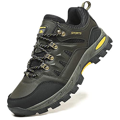 Topwolve Zapatillas de Senderismo para Hombre Zapatillas de Trekking Botas de Montaña Antideslizantes Al Aire Libre Zapatos de Deporte,Verde,41 EU