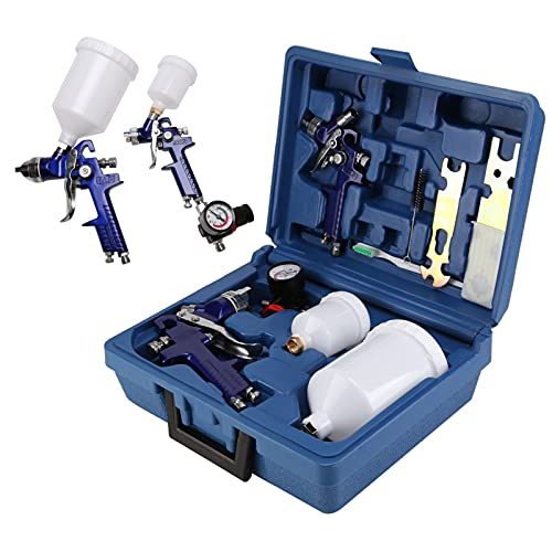 Shoze Air Spray Gun Set 600cc/250cc Cup HVLP Paint Sprayer Tool Kit 0.8mm/1.4mm...