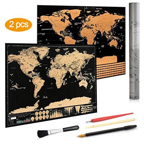 Scratch Off World Map Poster, KY-Tech Scratch Off Map Weltpostposter, Reisegröße, Scratch Off Weltkarte Poster mit Kratzwerkzeug, perfektes Geschenk für Reisende 2 x Karten.