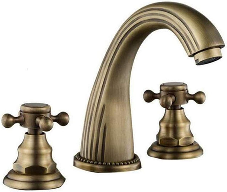 Faucets Basin Mixerantique Brass Hot and Cold Water Bathroom Mixer Taps Basin Faucet
