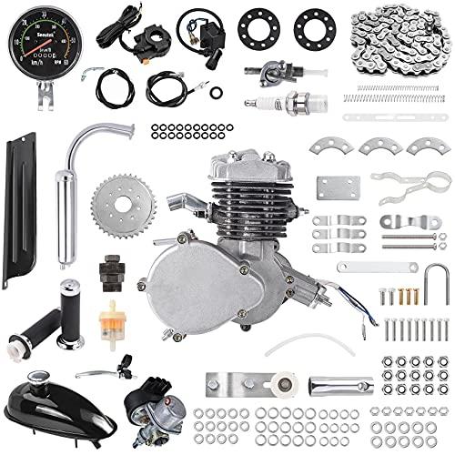 "80cc Bicycle Engine Kit 2-Stroke Gas Motorized Bike Motor Kit 26"" 28"" Bicycle Motor Engine Kit Upgrade with Speedometer"