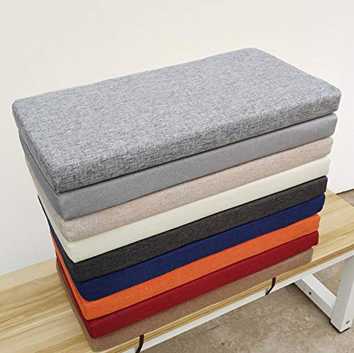 Detachable Rectangle Bench Pad Mat,Bench Cushion Backrest,Indoor Outdoor Seat Cushion for Dining Bench/Lounger Cushion/Sofa/Chair,Washable-dark gray-100x40cm