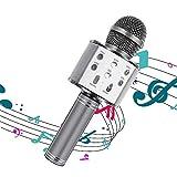 Karaoke Micrófono Bluetooth Portátil Inalámbrico Para Niños Chavales Con Altavoz Luz Led Transmisión Propia Música Desde Cualquier Dispositivo Compatible Windows Android y iOS. (GRAY)