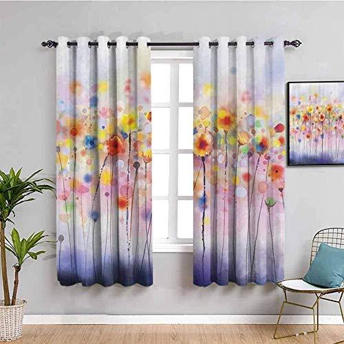 ZLYYH Cortinas Para Cocina Abstracto pintura al óleo planta flor 117x160cm Cortinas extra largas Tratamientos de ventana para paneles y cortinas de sala de estar, cortinas extra largas de ojal clásico