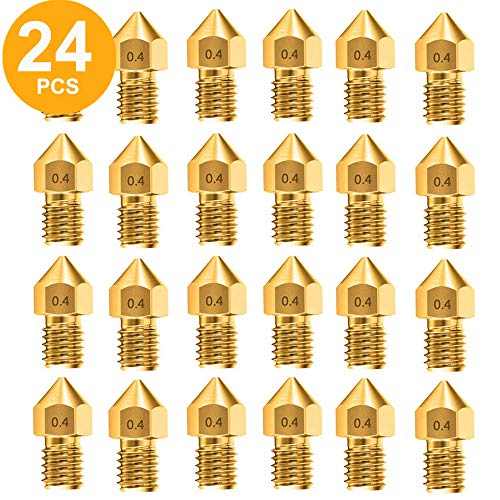 0.4mm Nozzle, 3D Printer Extruder Nozzles with Free Storage Box for MK8 Creality CR-10 10S S4 S5 Ender 3 5 (24PCS 0.4mm nozzles)