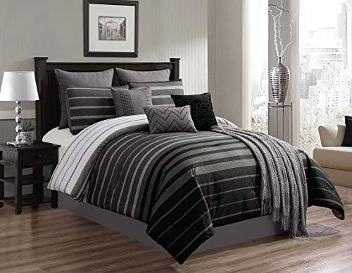 Riverbrook Home 7900 10-Piece Comforter Set, King, Barkley - Black/Gray