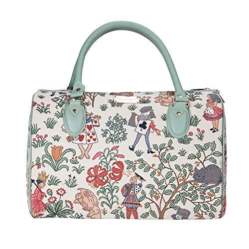 Signare Tapisserie Reisetasche Damen, Sporttasche Damen, Weekender Damen, Reisetasche groß mit Garten Designs (Alice im Wunderland)