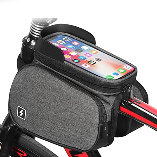 GHJGTL Bolsa De Marco De Bicicleta, Bolsa De Manillar De Accesorios De Bicicleta De Montaña, Pantalla Táctil A Prueba De Agua A Prueba De Agua Bolsa De Teléfono Móvil,Gris