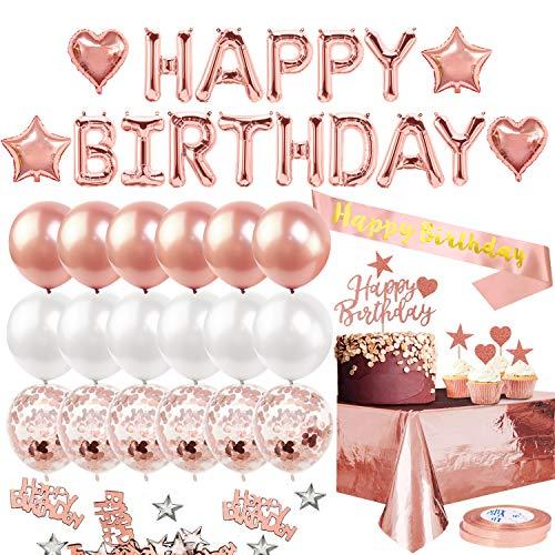 iZoeL Anniversaire Ballon Rose Gold Kit Bannière Joyeux Anniversaire, Nappe Aluminium, Anniversaire...
