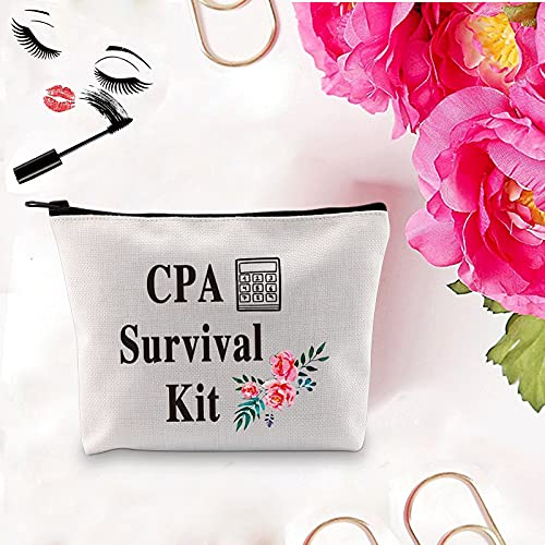 PXTIDY CPA Survival Kit CPA Gift CPA Cosmetic Bag Calculator Accounting Gift Idea Makeup Zipper Pouch Graduation Gift for Certified Public Accountant(beige)