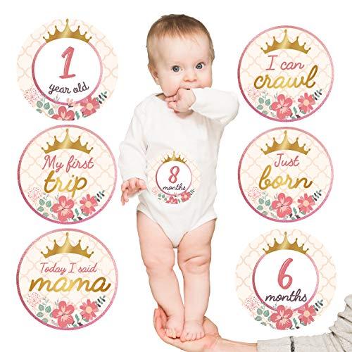 Pegatinas de hito mensual para bebé (juego de 20) pegatinas para ombligo de bebé con corona de oro rosa, el mejor regalo de registro de baby shower