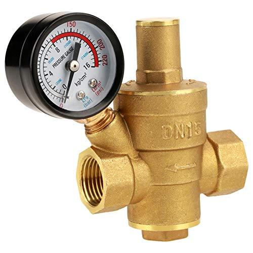 HGFHGD DN15 Messing Einstellbarer Wasserdruckregler Druckminderer mit Messgerät Tabelle Messing Druckminderventil einstellbar Messgerät