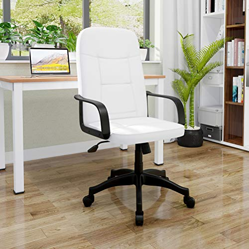 Home Office Chair for Bedroom,High-Back Ergonomic Design Executive Desk Chair with Arms Comfy Leather Swivel Computer Chair,Height Adjustable&Rocking Function
