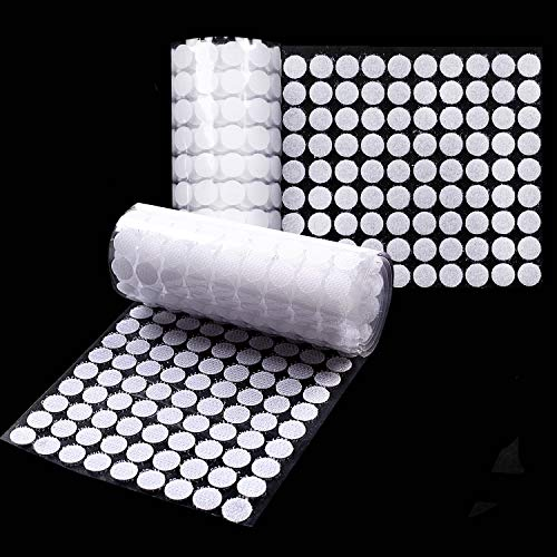 FUNVCE Self Adhesive Dots,1008Pcs(504 Pairs) Sticky Back Coins Hook & Loop Dots Round Dot Stickers Glue Coins Tapes for Hanging Sewing Clothing Kids Crafts (White)