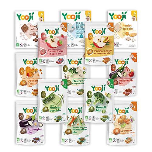 Yooji - Panier Complet Bio Légumes Fruits Viandes et Poissons Bio pour le Repas de Bébé de 9 à 12 Mois - Alimentation Saine et Équilibrée - Saveur Viandes Poissons Fruits Légumes pour 30 Repas