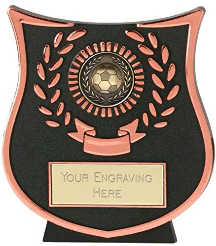 Emblems-Gifts Fußball- und Lorbeer-Fußballplakette, gewölbt, inkl. Gravur, 11 cm