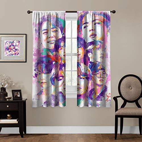 LCGGDB Kpop Blackout Curtains,BTS Oil Painting,Living Room Bedroom Window Drapes Panels Set of 2 with Rod Pocket,Soundproof Shade Curtains,for Boys and Girls Room Décor, 63x63 inches