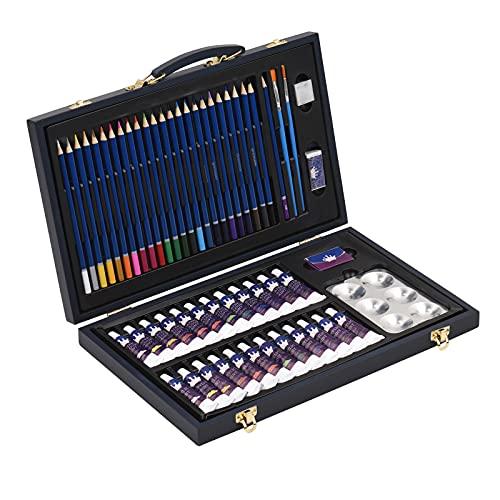 Montloxs Suministros profesionales de pintura artística,juego de pinturas de acuarela acrílica,56 piezas,lápiz de colores,dibujo,cuaderno de bocetos,sacapuntas,pincel en estuche de madera portátil,
