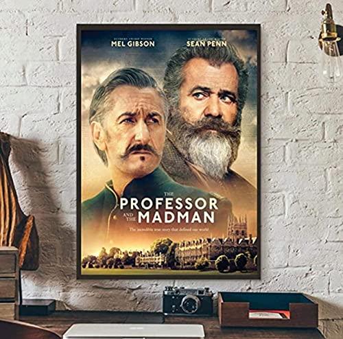 JLFDHR Quadro su Tela Pittura 30x50cm Senza Cornice Il Professore e Il Pazzo Film Poster Copertina Ufficiale Attore Mel Gibson Opere d'Arte