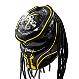 Predator Motorcycle Helmet – DOT Approved – Custom Made, Fibreglass, Unisex for Powersports, Sports, and Outdoor - Yellow Abyss