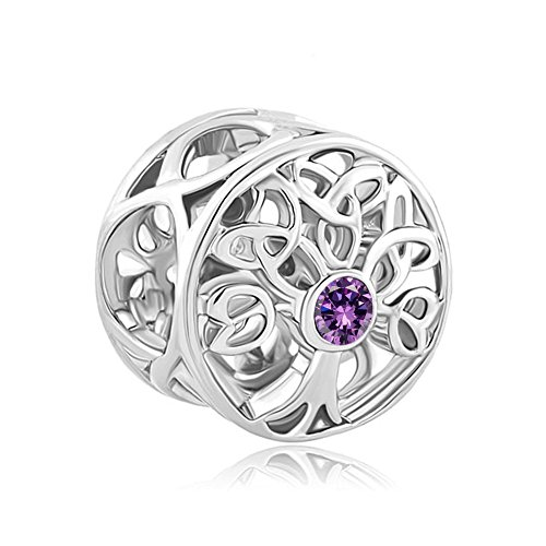 Charmed Craft Filigree Celtic Knot Tree of Life Charms Yellow Rhinestone Beads for Bracelets (Purple)