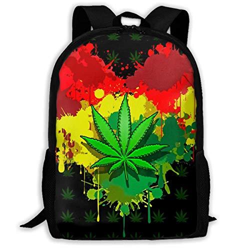 Reggae Rasta Love Hojas de Marihuana Azul Amarillo Rojo Mochilas Escolares Bolsas Escolares Impermeables Mochilas de Viaje duraderas para niños y niñas
