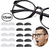 12 Pares Almohadillas de Nariz Adhesivas Almohadillas de Gafas de Silicona Antideslizantes para (1.5mm Negro Transparente)