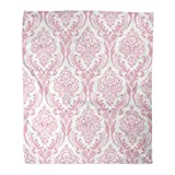 Golee Throw Blanket Pattern Pink Damask Victorian Floral Valentine Baroque White Day Organic 60x80 Inches Warm Fuzzy Soft Blanket for Bed Sofa
