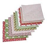 Serie de Navidad Grupo de Tela de Retazos Tela de algodón Hecha a Mano DIY Patrón Liso Tela de algodón Floral pequeña 8 Combinaciones de Estilos (OPP)