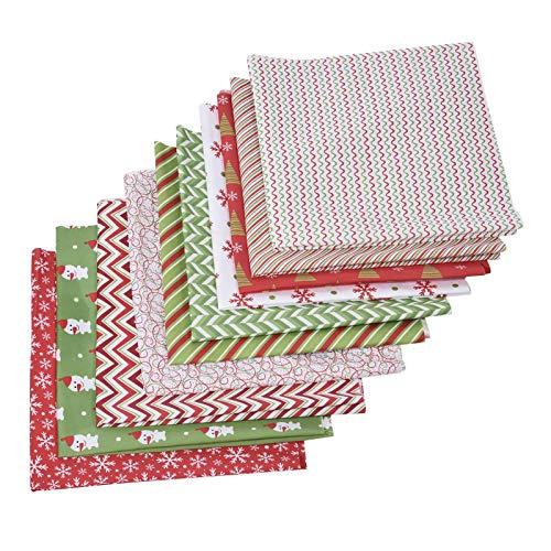 Suppemie Tela de algodón por Metros, 50 x 50 cm, para edredón de Retazos, de algodón, Estampado de Flores, 10 Piezas, Paquetes de Tela para Coser, para Costura y Manualidades