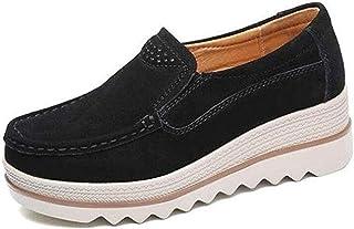 Women Comfy Slip-On Platform Shoes Women Platform Slip On Loafers Comfort Wedge Shoes